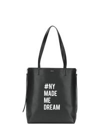 schwarze und weiße Shopper Tasche aus Leder von DKNY