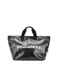 schwarze und weiße Shopper Tasche aus Leder von Dsquared2