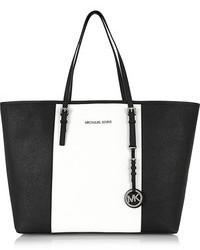 schwarze und weiße Shopper Tasche aus Leder von MICHAEL Michael Kors