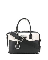 schwarze und weiße Shopper Tasche aus Leder von Prada