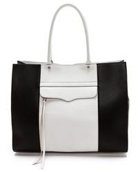 schwarze und weiße Shopper Tasche aus Leder von Rebecca Minkoff
