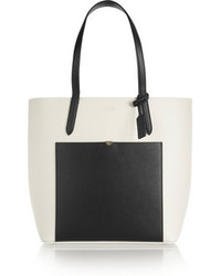 schwarze und weiße Shopper Tasche aus Leder von Smythson