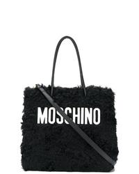 schwarze und weiße Shopper Tasche aus Pelz von Moschino