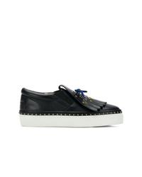 schwarze und weiße Slip-On Sneakers aus Leder von Burberry