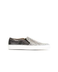 schwarze und weiße Slip-On Sneakers aus Leder von Givenchy
