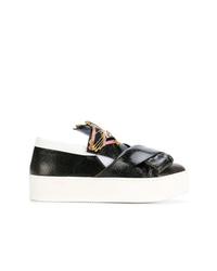 schwarze und weiße Slip-On Sneakers aus Leder von N°21