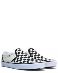 schwarze und weiße Slip-On Sneakers aus Segeltuch