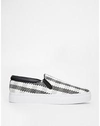 schwarze und weiße Slip-On Sneakers mit Schottenmuster