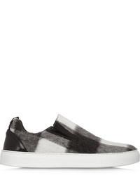 schwarze und weiße Slip-On Sneakers mit Schottenmuster von MSGM