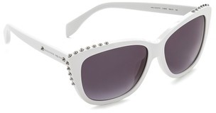 schwarze und weiße Sonnenbrille von Alexander McQueen