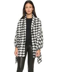 schwarze und weiße Strickjacke mit einer offenen Front mit Hahnentritt-Muster von Glamorous