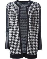 schwarze und weiße Strickjacke mit einer offenen Front mit Hahnentritt-Muster von Ralph Lauren