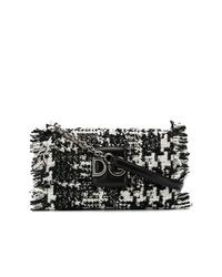 schwarze und weiße Tweed Umhängetasche von Dolce & Gabbana