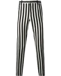 schwarze und weiße vertikal gestreifte Chinohose von Dolce & Gabbana
