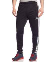 schwarze und weiße vertikal gestreifte Jogginghose