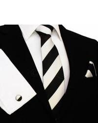 Schwarze und weiße vertikal gestreifte Krawatte von DQT