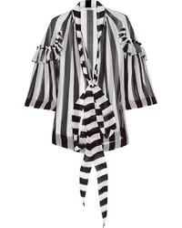 schwarze und weiße vertikal gestreifte Langarmbluse von Givenchy