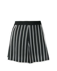 schwarze und weiße vertikal gestreifte Shorts von Lanvin