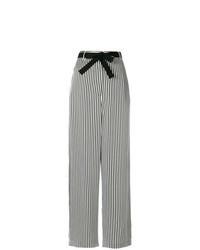 schwarze und weiße vertikal gestreifte weite Hose
