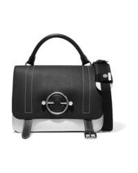 schwarze und weiße verzierte Satchel-Tasche aus Leder von JW Anderson