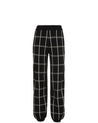 schwarze und weiße weite Hose mit Karomuster von Chloé