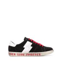 schwarze und weiße Wildleder niedrige Sneakers von Amiri