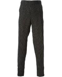 schwarze vertikal gestreifte Anzughose