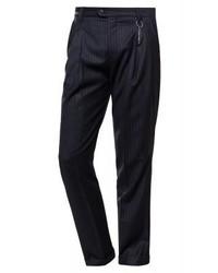 schwarze vertikal gestreifte Anzughose von Hugo Boss