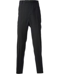 schwarze vertikal gestreifte Anzughose von Kris Van Assche