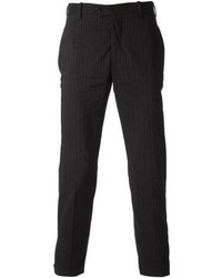 schwarze vertikal gestreifte Anzughose von Neil Barrett