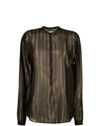 schwarze vertikal gestreifte Bluse mit Knöpfen von Saint Laurent