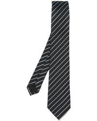 schwarze vertikal gestreifte Seidekrawatte von Armani Collezioni