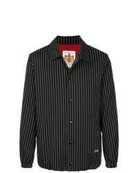schwarze vertikal gestreifte Shirtjacke