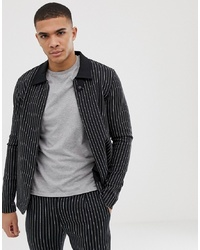 schwarze vertikal gestreifte Shirtjacke von Jack & Jones