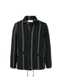 schwarze vertikal gestreifte Shirtjacke von Maison Flaneur