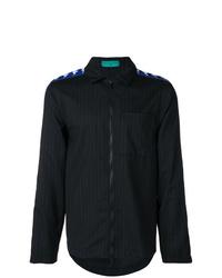 schwarze vertikal gestreifte Shirtjacke von Paura