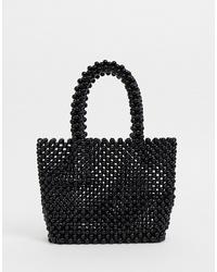 schwarze Perlen Shopper Tasche von New Look