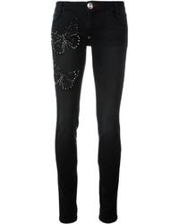 schwarze verzierte enge Jeans aus Baumwolle von Philipp Plein