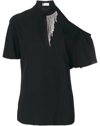 schwarze verzierte Bluse von Lanvin