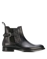schwarze verzierte Chelsea Boots aus Leder von Etro