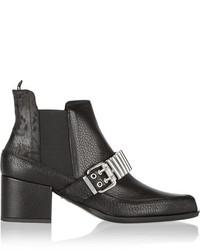 schwarze verzierte Chelsea-Stiefel aus Leder