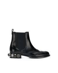 schwarze verzierte Chelsea-Stiefel aus Leder von Dolce & Gabbana