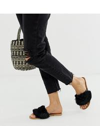 schwarze verzierte flache Sandalen aus Leder von Boohoo