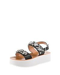 schwarze verzierte flache Sandalen aus Leder von Buffalo