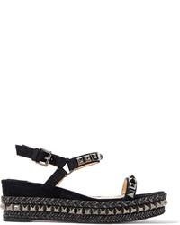 Schwarze verzierte Flache Sandalen aus Leder von Christian Louboutin