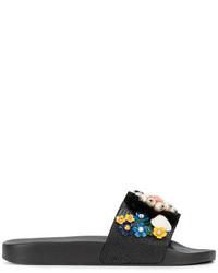 schwarze verzierte flache Sandalen aus Leder von Dolce & Gabbana