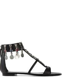 schwarze verzierte flache Sandalen aus Leder von Giuseppe Zanotti