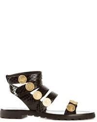 schwarze verzierte flache Sandalen aus Leder von Kenzo