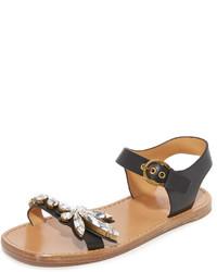 schwarze verzierte flache Sandalen aus Leder von Marc Jacobs