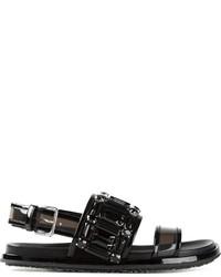 schwarze verzierte flache Sandalen aus Leder von Marni